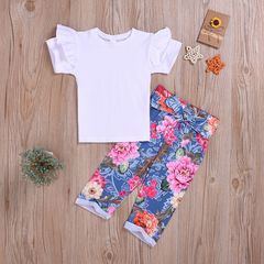 Fashion Toddler Kids Baby Girls Fly sleeve Ruffle Tops+Hibiscus Mutabilis Pants Set Outfits White GH479A 90