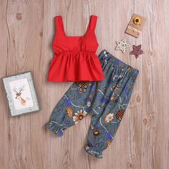 Holiday Toddler Kids Baby Girls Ruffle Sleeveless Dress Tops+Floral Pants Outfits Fashion Clothes Red ML034A 100