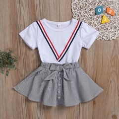 Toddler Kids Baby Girls Short Sleeve Preppy Style Tops+ Bowknot Vertical Skirt Set Outfits Clothes White ZT146A 90