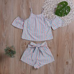 Toddler Kids Baby Girls Off Shoulder Stripe Ruffle Tops+ Bowknot Vertical Shorts Set Outfits Clothes Colours GX889A 90