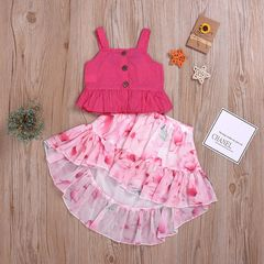 Toddler Baby Kids Girls Summer Dots Strap Tops Floral Dresses Skirt Outfits Set Clothes 2PCS Red ZL003A 100