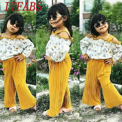 Fashion Toddler Kids Baby Girls Off Shoulder Ruffle Flower Tops+ Loose Pants Set Outfits Clothes Orange JHX009A 80