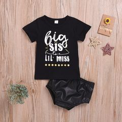 Toddler Kids Baby Girls Short Sleeve Sisters Tops/Romper+PU Shorts Set Outfits Clothes T-shirt ZL001A 70
