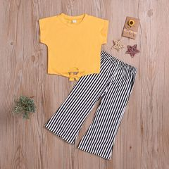 Fashion Toddler Kids Baby Girls Short Sleeve Tops+Vertical Stripes Pant Set Outfits Clothes 2PCS Yellow HL017A 80