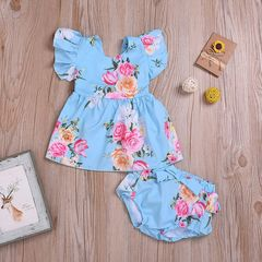 Newborn Kids Baby Girls Flower Lace Fly Sleeve Dress Tops Bowknot Shorts Outfits Set Clothes 2PCS Blue GH466A 70