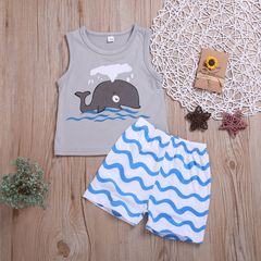Newborn Toddler Kids Baby Boys Sleeveless Whale Tops+Wave Shorts Set Outfits Clothes 2PCS Gray ML006A 70