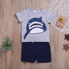 Newborn Toddler Kids Baby Boys Short Sleeve Printing Shark Tops+Stripe Shorts Set Outfits Clothes Gray ML010A 70