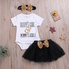 Newborn Baby Girls Short Sleeve Shimmering Powder Lettering Romper+Tulle Skirt+Bowknot Headband Set White ZY007A 80