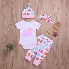 Newborn Baby Girls Short Sleeve Lace Rabbit Romper+Painted Egg Pants+Headband+Hat Set White HL018A 70