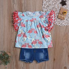 Toddler Kids Baby Girls Tassels Fly Sleeve Ruffle Flowers/Flamingos Tops+Denim Shorts Set Red GX886A 90