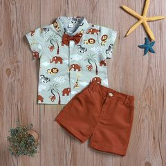 Casual Set Toddler Kids Boys Dinosaur Elephant Shirt Tops+Shorts Set Outfits Clothes 2PCS Coffee GC312A 80