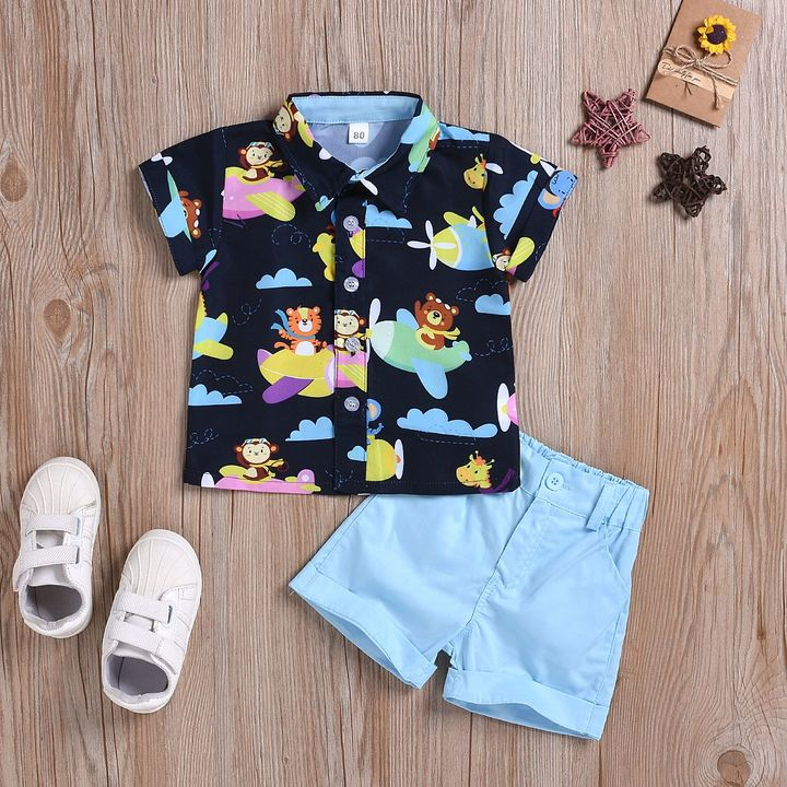 Casual Set Toddler Kids Boys Cartoon Shirt Tops+Shorts Set Outfits Clothes 2PCS Blue GH493A 80