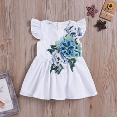 Toddler Kids Baby Girls Fly Sleeve Embroidered Flowers Ruffle Leggings Birthday Dress White GX883A 100