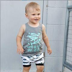 Toddler Kids Boys Sleeveless Whale Printing T-shirt+Shorts Set Outfit 2PCS Gray GC317A 80