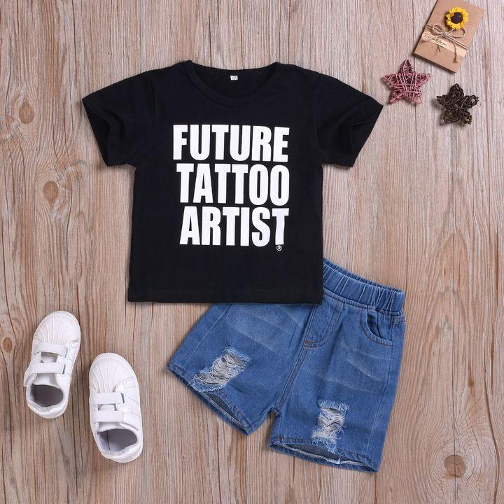 Casual Set Toddler Kids Boys Lettering Short Sleeve T-Shirt Tops+Ripped Denim Shorts Set Black HL040A 90