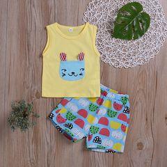 Toddler Kids Boys Sleeveless Cartoon Printing T-shirt+Cartoon Shorts Set Outfit 2PCS Yellow ZT119A 80