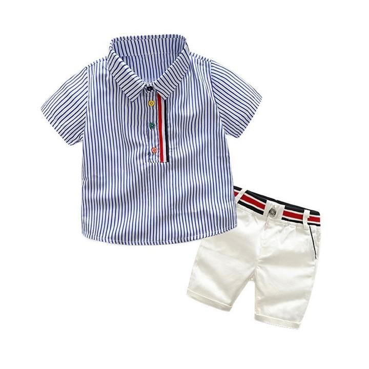 Toddler Kids Boys Vertical Stripes Color Button Shirt Tops+Shorts Set Outfits Clothes 2PCS Blue GX910A 90