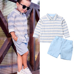 Toddler Kids Boys Baby Comfortable Stripe Tops+Cargo Shorts Set Outfits Clothes 2PCS Blue GH492A 100