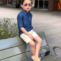Toddler Kids Boys Baby Comfortable Cotton And Linen Tops+Cargo Shorts Set Outfits Clothes 2PCS Mazarine GH492B 100