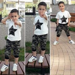 Toddler Kids Boys Baby Star Short Sleeve T-shirt Tops+Camouflage Pants Set Outfits Clothes 2PCS White GG433A 90