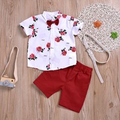 Toddler Kids Boys Flower Bow tie Shirt Tops+Overall Shorts+Belt Set Outfits Clothes 2PCS Red GX909A 90