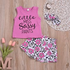 Toddler Kids Baby Girls Sleeveless Printing Tops+Flower Shorts+Headband Set Outfits Clothes 3Pcs Pink ML059A 90