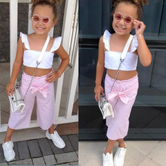 Toddler Kids Baby Girls Ruffle Lace Straps Tops+ Bowknot Vertical Bowknot Pants Set Outfits Clothes Pink GH471A 100