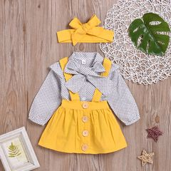 Toddler Kids Baby Girls Dots Long Sleeve Tops Tutu Dress Skirt Bow Headband Clothes Outfits Yellow GX921A 70