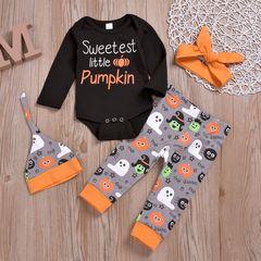 Hallowmas Newborn Baby Girls Boys Long Sleeve Pumpkin Romper+Pants+Hat+Headband Set Orange ML060A 70