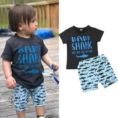 Toddler Kids Boys Short Sleeve Baby Shark T-shirt Tops+Shorts Set Outfits Clothes 2PCS Blue GC318A 80