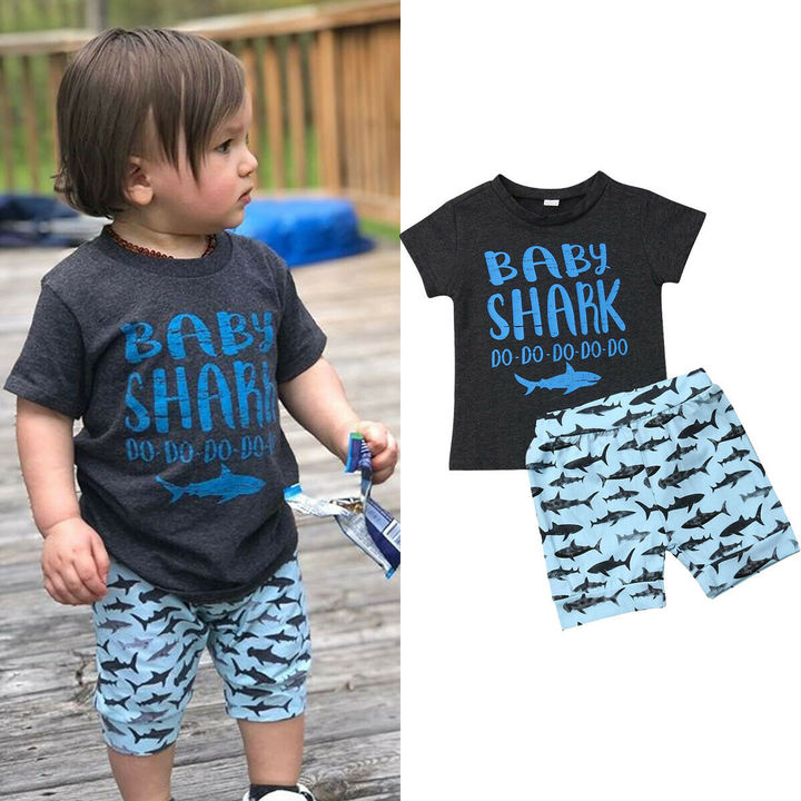 Toddler Kids Boys Short Sleeve Baby Shark T-shirt Tops+Shorts Set Outfits Clothes 2PCS Blue GC318A 80