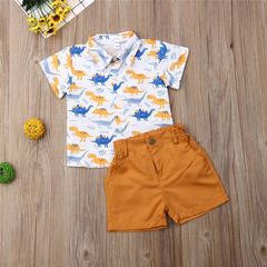 Casual Set Toddler Kids Boys Dinosaur Shirt Tops+Shorts Set Outfits Clothes 2PCS Orange GC326A 80