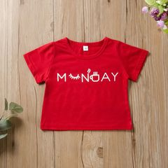 Casual Toddler Kids Boys Girls Cotton Printing Basic Style Daily Short Sleeve T-shirt Tops Red QXY071A 80