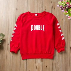 Lovely Toddler Kids Baby Boys Girls DOUBLE Red Top Shirt Blouse Autumn Clothes Casual Red QXY069A 80 cotton