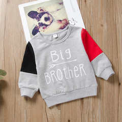 Casual Toddler Kid Baby Boys Color Matching Big Brother Top Shirt Blouse Autumn Clothes Gray QXY059A 80 cotton