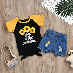 Toddler Kids Baby Girls Color Matching Pineapple Sunflower T-shirt Tops+Denim Shorts Set Outfits Orange GH501A 90