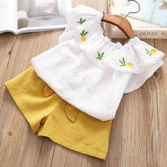 Toddler Kids Baby Girls Off Shoulder Ruffle Flowers Tops+Bowknot Shorts Set Outfits Clothes White BY019A 80