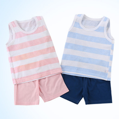 Leisure Wear Newborn Kids Baby Boys Girls Sleeveless Stripe T-shirt +Shorts Set Outfits Pajamas Blue 0T003B 65