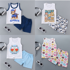 Leisure Wear Newborn Kids Baby Boys Girls Sleeveless Cartoon T-shirt +Shorts Set Outfits Pajamas Doughnut 0T008A 55