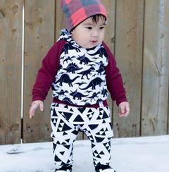 Newborn Baby Boys Girls Long Sleeve Dinosaur Hoodies+Pants Outfits Clothes 2PCS White GC341A 70