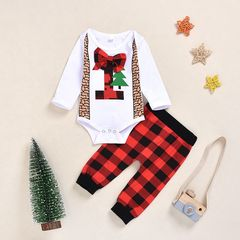 Christmas Newborn Kids Baby Boys Girls Christmas Trees Tops Grid Pants Set Outfits Clothes 2PCS Red ML087A 70