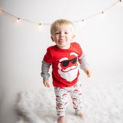Christmas Toddler Kids Boys Girls Santa Claus Color Matching Tops+Stripe Pants Set Clothes 2PCS Red GG452A 80