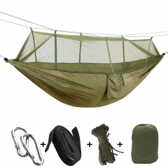 Outdoor parachute cloth hammock with mosquito net super light nylon double army green camp air tent green 260-140