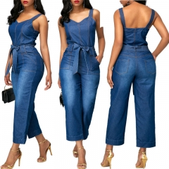 2018 the new lady, European and American slim slim jeans. blue M
