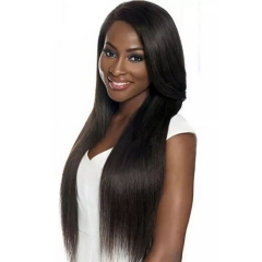 European and American fashion wig ladies long straight hair long split mid wig cover black 1
