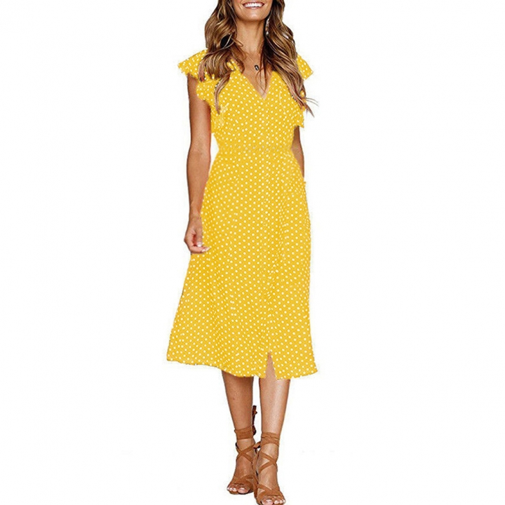 fc073ec90dc 2018 new fashion women s dress wave point lotus leaf edge V collar dress l  yellow