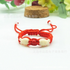 Hand woven double fish red chain bracelet to ward off evil spirits and keep peace gules 1
