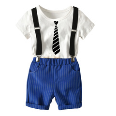 2008 New Backstrap Suit Summer Children's Clothes with Cotton Backstrap and Short Sleeve Shorts Dark blue 3-8 Pure cotton