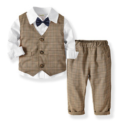 Children's long sleeve shirt, double waistcoat, trousers and bow tie gentleman suit white Suitable for height 80-130 - cm