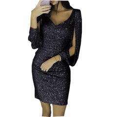 New Long Sleeve Slim Buttock Dress for Women in 2018 s black